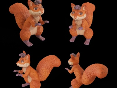 3D Painted Squirrel Mascot