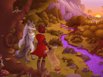The Adventures of Wolf and Hood game art fairytale fantasy cute character digital painting illustraion jigsaw game