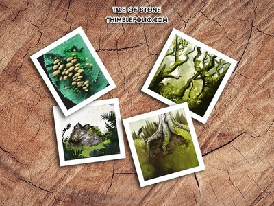 Forest studies for Tale of Stone forests environments rock mushroom tree wood forest