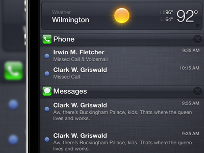 iOS Notification Center Pulldown Glossy iphone notifications ios5 iphone4