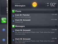 iOS Notification Center Pulldown Glossy