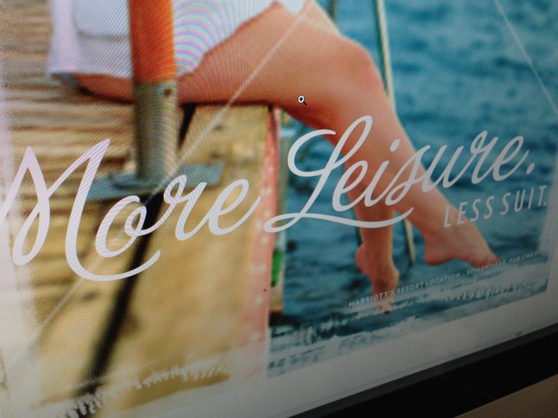 More Leisure. Less Suit poster grunge polaroid script blue water verlag white clean