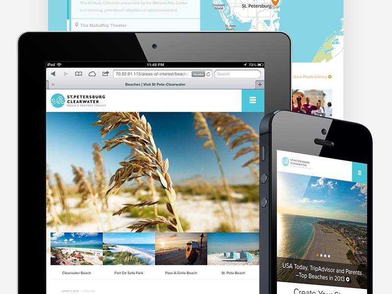 Visit St. Pete/Clearwater Media Website responsive travel media map
