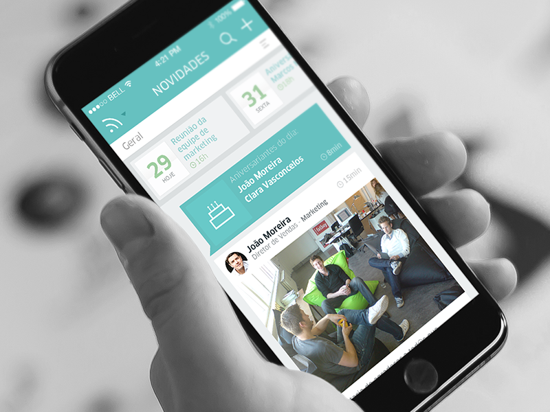 Newsfeed - Kerno newsfeed timeline navigation deep green gray mockup hands on iphone posts schedules flat