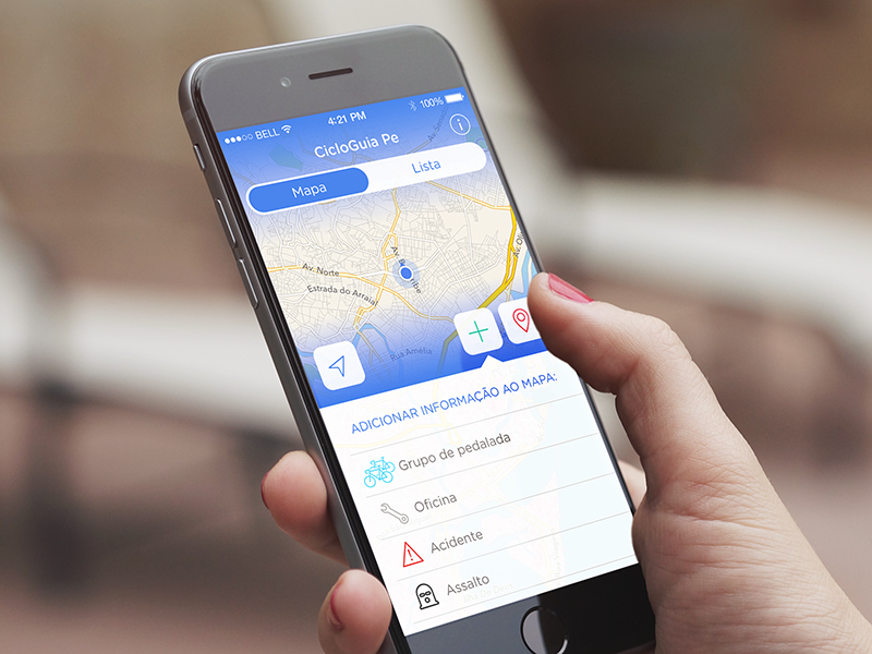 Add an info to the map bike social map segmented button app mockup gradient blue