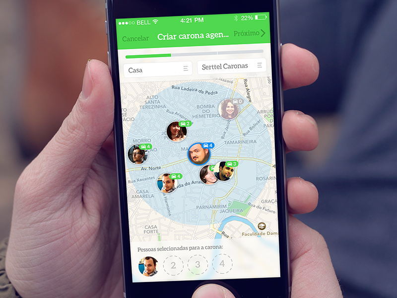Creating a scheduled ride - first step friends green select people stepper ride app iphone ios mobile