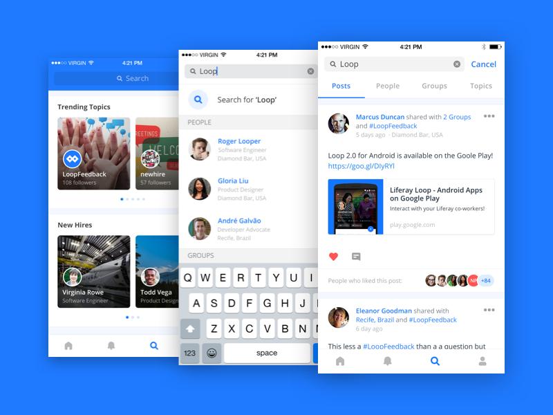 Liferay Loop iOS · Search Workflow cards tabs workflow search ui ux network social app ios mobile