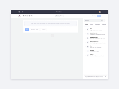 Form View Builder – Drag and Drop Interactions affordance principle ui ux web lexicon sidebar motion design interactions drag and drop