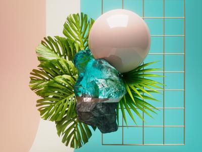 🌱 design c4d still life organic plants ferns abstract 3d