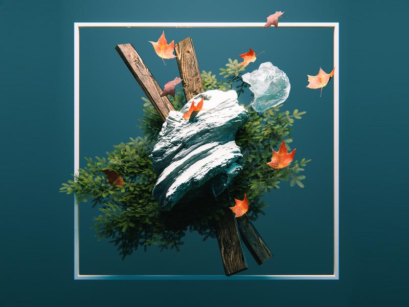 Autumnal 3d model blender b3d blender 3d art holiday seasons winter abstract 3d frame autumn