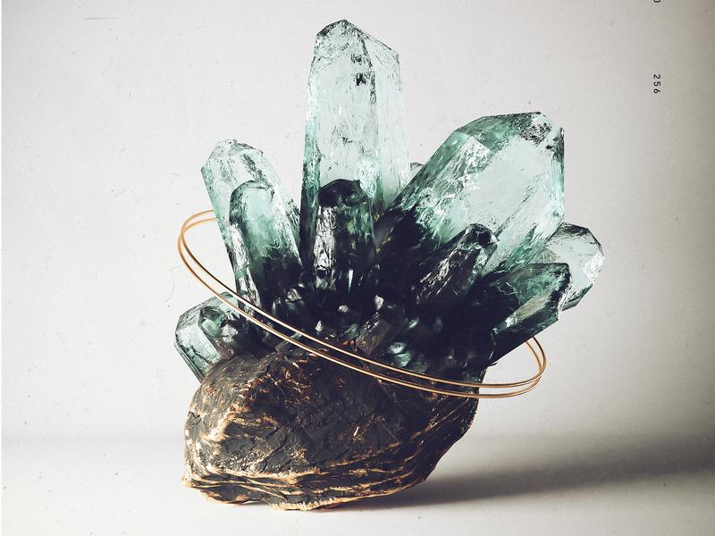 Crystal Study nature poster mineral surreal crystal 3d model blender 3d blender 3d