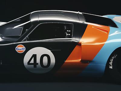 1966 Ford GT40 Le Mans cinema4d sports car ferrari ford vehicle automotive design automotive race car 3d model blender 3d