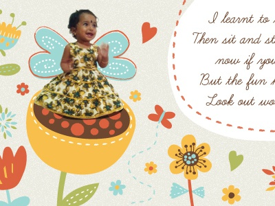 Birthday invite  birthday girl kids illustration invite butterfly