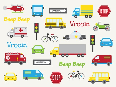 Transport Icons road beep trucks cars birthday vehicles party transport illustration icons