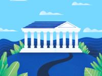 Ancient Greek Building Illustration