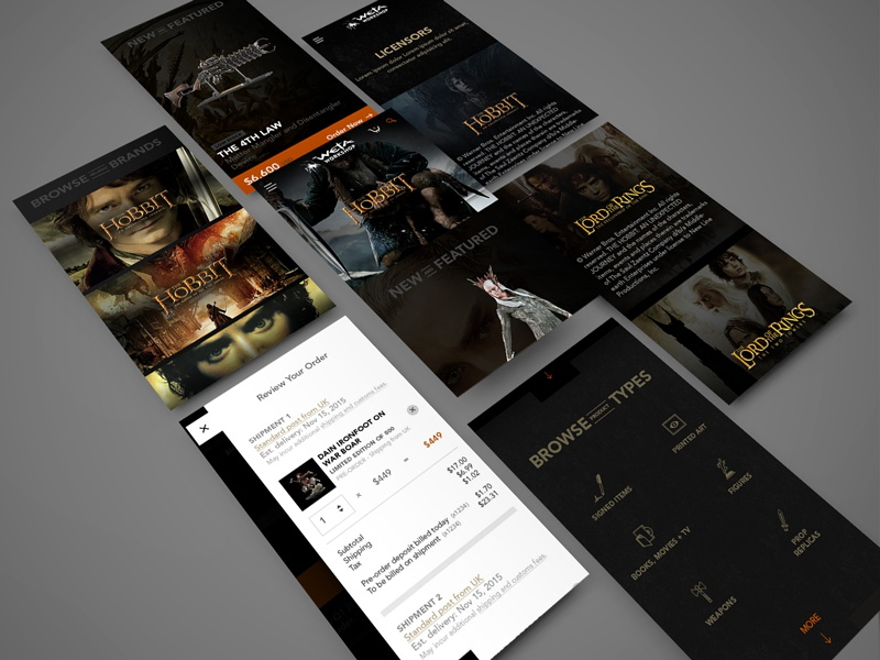 Weta Workshop Pages site structure ecommerce dark responsive bold type icon iconography custom images