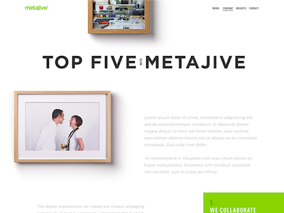 Metajive About Us Webpage ui ux web frame white web layout website responsive about us landing page clean