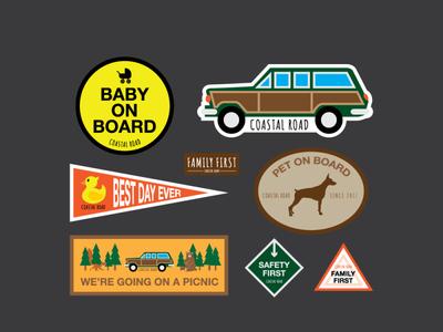 coastal road car sticker pack