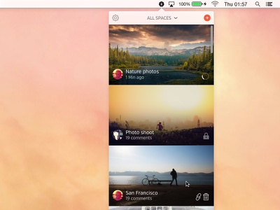 Mac Desktop App for Hightail Spaces osx app tray menu ui ux desktop