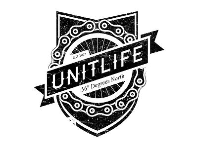 Unit Life Logo unit life logo design chain grunge dirty bike wheel