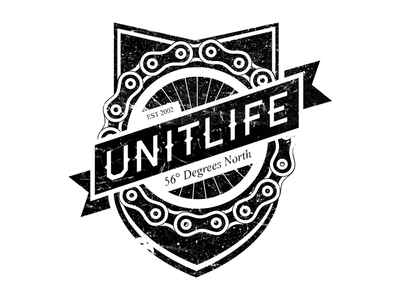 Unit Life Logo unit life logo design chain grunge dirty bike wheel