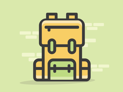 Back pack icon bag black green yellow icon outline