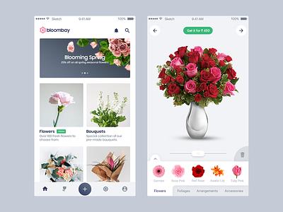 Bouquet Creation App shop app drag drop bloombay mobile app flower shop florists ios appdesign floral ecommence flower bouquet