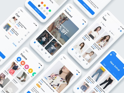 Shopping App Exploration store appdesign mobile app ecommerce app product card cart ux uidesign ios fashion ecommerce shopping app shopping