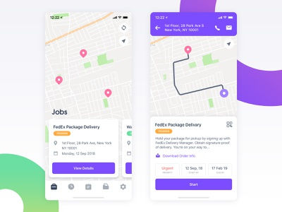 Delivr - Delivery App card ux app appdesign task user experience ui mobile app ios location map location map jobs job map job app delivery service delivery app