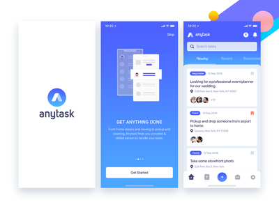AnyTask - On Demand Job App jobs app appdesign interface ux ui mobile ios app onboarding walkthrough search project task list job listing job task