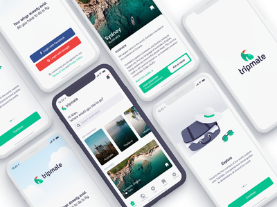 TripMate - Travel Guide login home onboarding card app design ux ui user interface mobile app ios app guide travel guide blog travel app travel agency trip travel