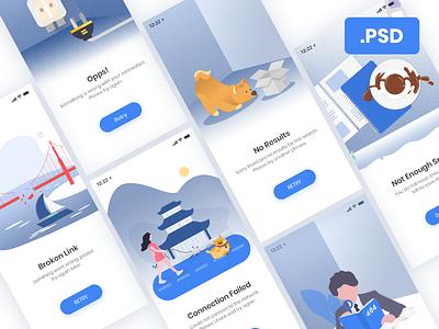 Error & Empty Illustrations [Free PSD] appdesign ux ios mobile app design app ui empty error empty screen freebies free psd illustration