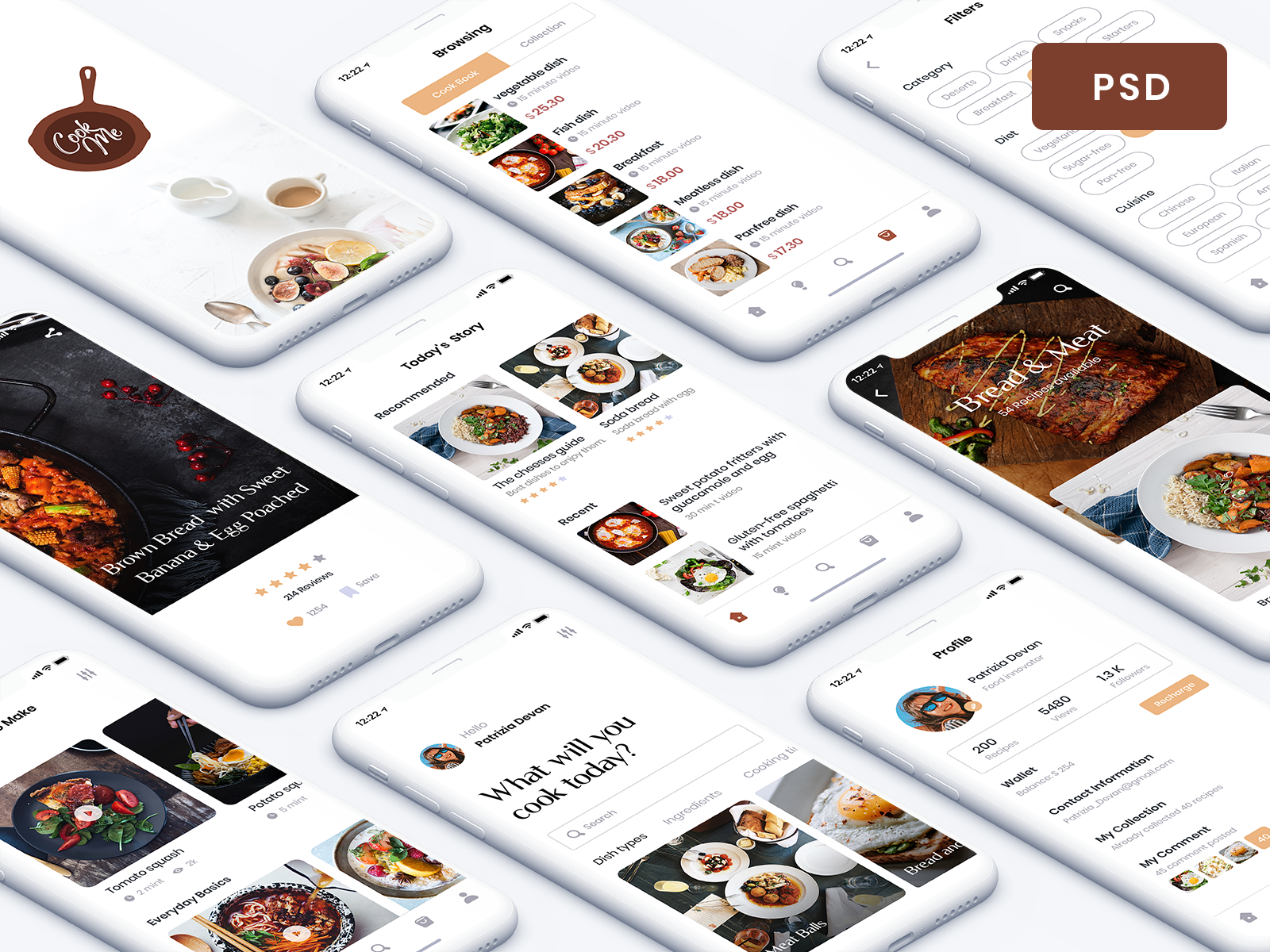 Recipe App - Free UI Kit chef kit ui ux profile search restaurant card freebies uikit .psd psd free mobile ios app blog cooking food recipe