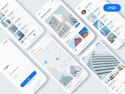 Property Rental App free psd freebies app card ios ui ux mobile app appdesign architect home house rent rental property