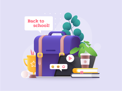 Back to School graphic pencil vector art back to school paper books book coffee plants plant emoji prize bag school illustration vector