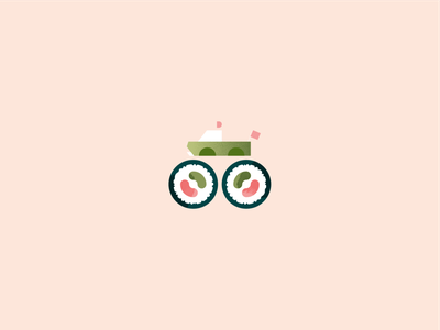 Sushi monster truck sushi wheels festival texture vector illustration graphic design art food illustrator illustration vector