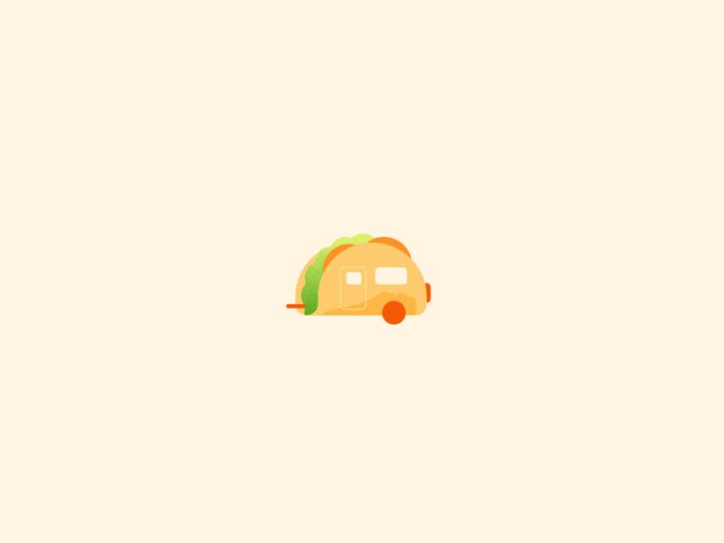 Taco caravan fun vectorart art graphic design flat caravan wheels taco food illustration illustrator freelance vector
