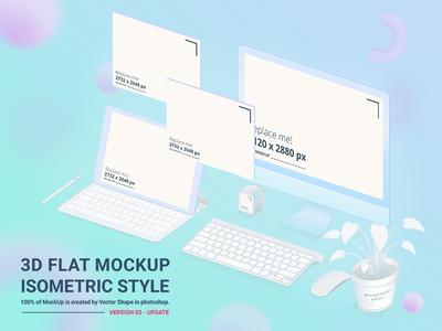 3D Flat Mockup Screen - Isometric Style - Version 02 Update 3d flat mockup free mockup screen mockup ipad mockup iphone mockup uxui template isometric popular