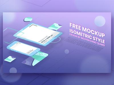 Free Mockup - Isometric Style popular isometric template uxui iphone mockup ipad mockup screen mockup free mockup 3d flat mockup
