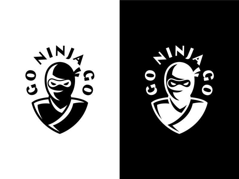 Go Ninja Go shadow portrait ninja branding illustration typography logotype geometric monogram minimal symbol icon logo