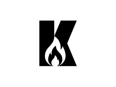 K - Fire flames flame campfire camping k fire vector typography logotype design monogram geometric branding minimal symbol icon logo