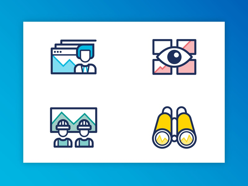 Trend Icons browser control room colorful corporate graphs engineers eye binocular software factory industry design branding geometric minimal symbol logo icon trends trend