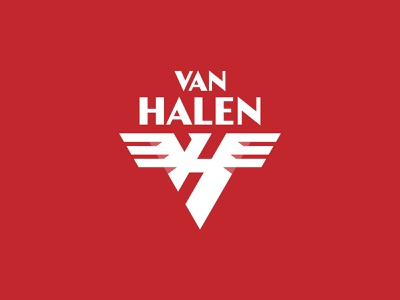 Van Halen vh badge triangle glamrock guitar design branding minimal typography geometric logotype icon symbol monogram logo emblem rock van halen