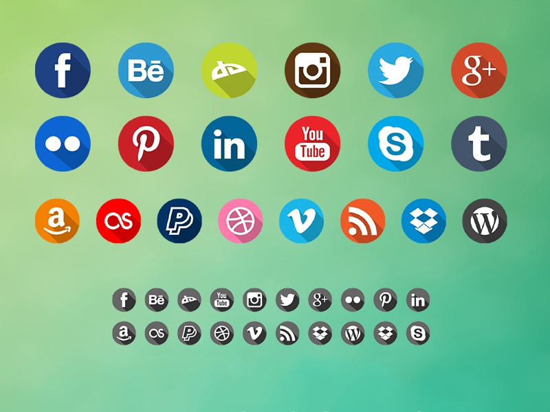 Free Long Shadow Icons Pack freebie download free long shadows shadows flat social network icons png