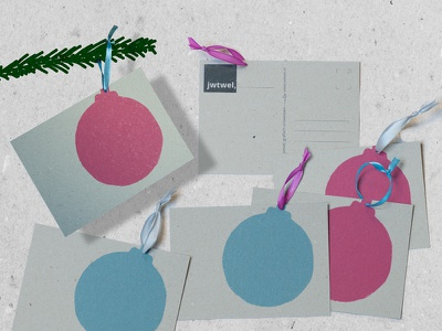 Christmasball Lino postcards greyblue fuchsia postcard christmascard greyboard handpress linocut craft design graphic