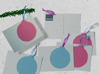 Christmasball Lino postcards