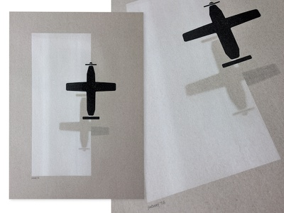 Plane - A3 Riso poster white black illustration design graphic muskat gray risograph riso shadow icon plane