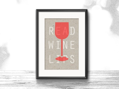 READ WINE LIPS  |  New design A3 Riso poster wine illustration mockup recycled paper white fluor orange a3 poster riso design graphic