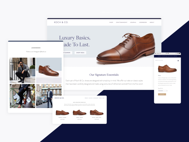 Koch & Co. Footwear typography editorial e-comerce modern elegant web design brand design lifestyle squarespace ui design ui  ux footwear minimalist luxury design luxury brand mens fashion menswear ecommerce