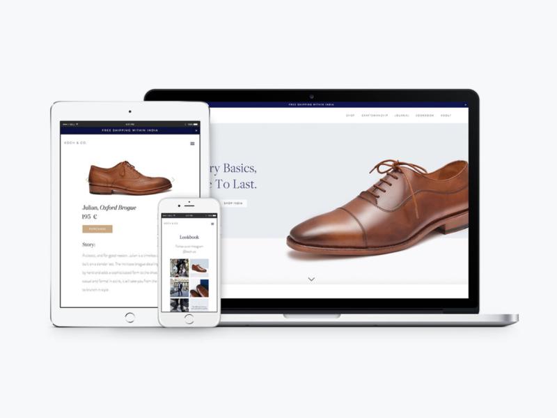 Koch & Co. Web Design lifestyle brand fashion editorial serif clean ui minimal luxury design responsive design ui design brand identity brand design luxury brand footwear squarespace mens fashion menswear ecommerce